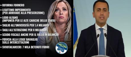 Le colpe di Giorgia Meloni pubblicate in un post del Movimento Cinque Stelle sulla pagina Facebook ufficiale.