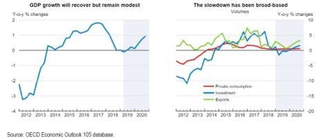 L'OCSE vede crescita piatta nel 2019 e molto scarsa nel 2020 (circa 0.6%)