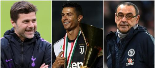 Mauricio Pochettino, Cristiano Ronaldo e Maurizio Sarri (foto: thetimes.co.uk; marca.com; brila.net)