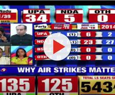 Lok Sabha Elections 2019 results on Aaj tak, NDTV, TV9 (Image via TimesNow/Screencap)