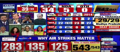 Lok Sabha Elections 2019 results on Aaj tak, NDTV, TV9 (Image via TimesNow/Screencap)