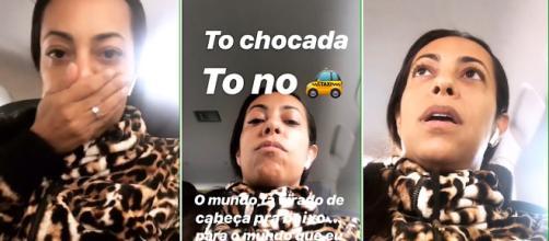 Samantha filmou conversa com motorista. (Reprodução/Instagram/@samanthaschmutz)