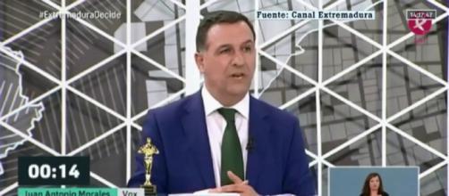 Morales, en el debate electoral de la cadena pública regional. / Canal Extremadura