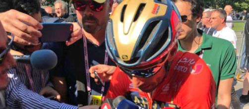 Vincenzo Nibali all'arrivo di Pinerolo