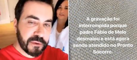 Padre deixou mensagem que havia desmaiado. (Reprodução/Instagram/@pefabiodemelo)