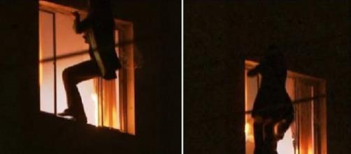 Bombeiros acreditam que criança estaria dormindo na hora da queda. (Reprodução/TV Globo)
