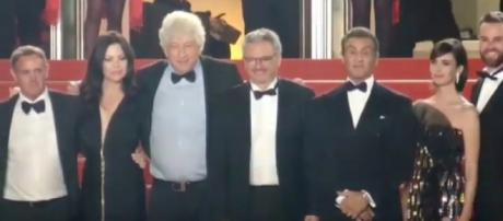 Sylvester Stallone and the team of Rambo V on the red carpet at Cannes Film Festival. [Image source: People_in_pfw/YouTube ]