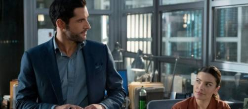 "Lucifer (Tom Ellis) and Chloe (Lauren German) for ""Lucifer"" Season 4."