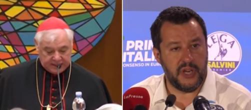 Il Cardinale Müller sembra difendere Salvini (Ph. Youtube).