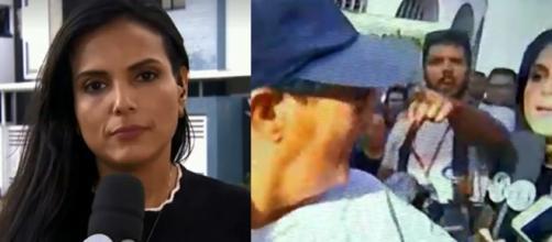 """Repórter fazia uma transmissão ao vivo para o programa """"Fofocalizando"""", no momento da tentativa do furto. (Reprodução/SBT)"""