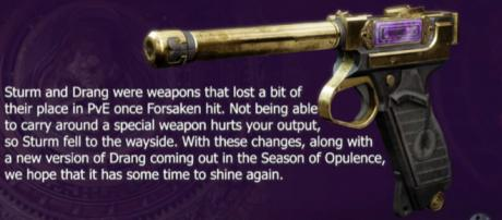 The Drang sidearm in Destiny 2. [Image source: Aztecross Gaming/YouTube]