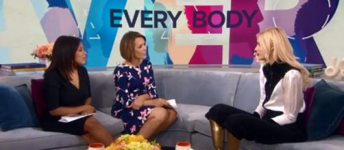"""""""Today's"""" Dylan Dreyer (center) takes inspiaration from model Lauren Wasser and the Challenged Athlete Foundation. [Image source:TODAY-YouTube]"""