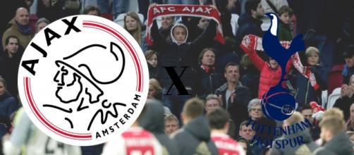 Ajax x Tottenham terá transmissão ao vivo na TV e na internet, nesta quarta (8) às 16h. (Fotomontagem)