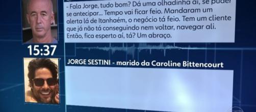 Áudios foram reproduzidos pelo 'Jornal Nacional', da Rede Globo. (Reprodução/TV Globo)
