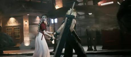 "Cloud and Aerith see strange things in ""Final Fantasy VII Remake,' coming March 2020 on PS4. [Image source: Final Fantasy/YouTube/Screenshot]"