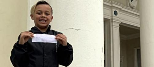 Ryan Kirkpatrick, 9-year-old third-grader, pays school lunch debt for entire class. - [Image source: CBS 17 / YouTube screencap]
