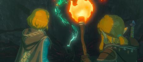 Link (right) and Zelda (left) encounter a new foe in Nintendo's upcoming 'Breath of the Wild' sequel. [Source: Nintendo/YouTube/Screenshot]