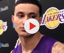 The Lakers' Kyle Kuzma may have to go as part of a trade for Anthony Davis. (Image via SportsNet/YouTube screencap)