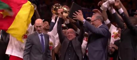 Full circle for Canada, as a Canadian invented basketball. Now a Canadian team are the 2019 NBA champions. [Source: NBA/YouTube/Screenshot]