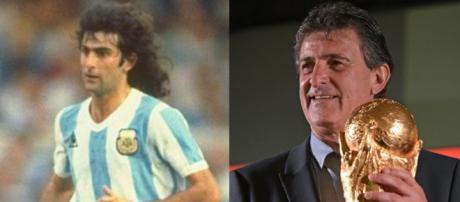 Mario Kempes in una foto degli anni '80 ed un'altra scattata in occasione dei Mondiali di Russia dello scorso anno
