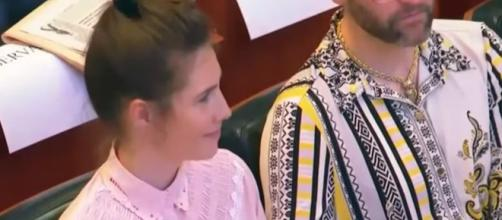 Amanda Knoc wiped away her tears in Modena - Image credit - Inside Edition / YouTube