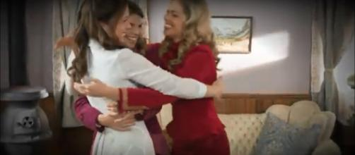 """Erin Krakow of """"When Calls the Heart"""" offers birthday love more than once to Pascale Hutton. [Image source: HallmarkChannel-YouTube]"""