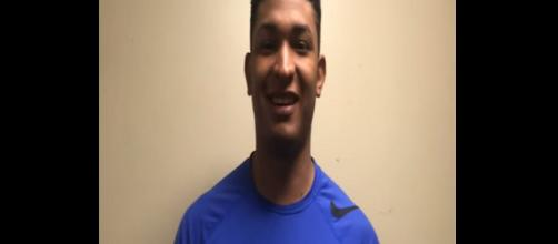 The Chicago Cubs have a legit arm prospect in Adbert Alzolay. [Image Source: DMRegister/YouTube]
