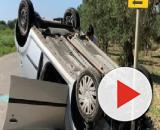 Brindisi, incidente nei pressi di Tuturano: auto ribaltata, ferita la conducente 43enne.
