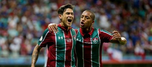 Pedro comemorando gol do Fluminense. (Arquivo/Blasting News)