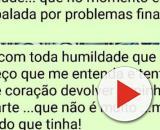 Golpista 'canta' mulher em WhatsApp após aplicar golpe. (Reprodução/WhatsApp).