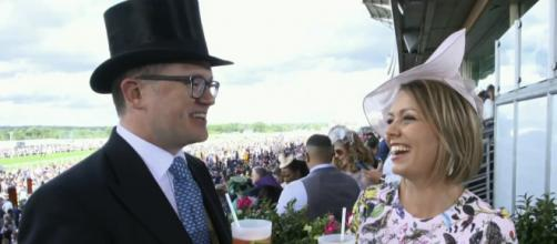 """""""Today's"""" Dylan Dreyer (R) makes Royal Ascot an event for two with her husband, Brian Fichera. [Image source: TODAY-YouTube]"""