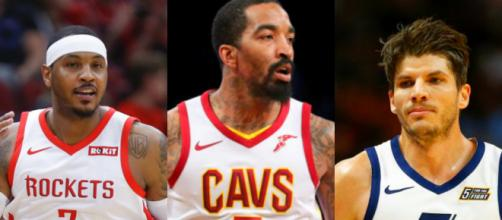 Carmelo Anthony, Kyle Korver and JR Smith are candidates to join the Lakers – image credit: NBA machines/Flickr photos (Pxilr Editor)