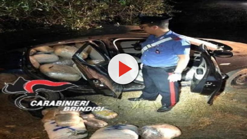 Brindisi, oltre tre quintali di sostanze stupefacenti trovati abbandonati in un'auto