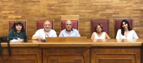 I rappresentanti delle sigle sindacali riuniti al Tribunale di Palermo.