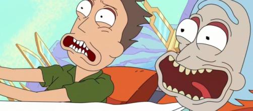 Jerry and Rick from 'Rick and Morty' in a theme park. (Image Credits: Adult Swim / YouTube)