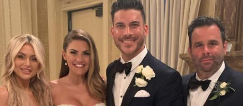Jax Taylor and Brittany Cartwright pose alongside Lala Kent and Randall Emmett at the wedding. [Photo via Instagram]