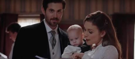 """Elizabeth chooses Lucas as her dance partner in the """"When Calls the Heart"""" finale, but will she run after Nathan? [Image source:TVPromos-YouTube]"""