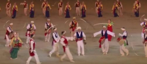 A glimpse of the North Korean Mass Games 2019! [Image source: Koryo Tours /YouTube]