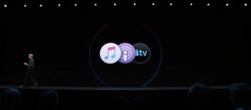 For the next macOS, iTunes will be replaced by separate Apple Music, Podcast and TV apps. [Image source: CNBC Television/YouTube/Screenshot]