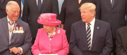 Queen greets Donald Trump and other world leaders at D-Day event. [Image source/5 News YouTube video]