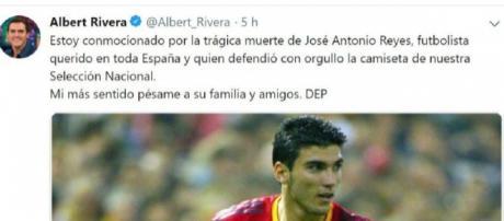 Tuit de Albert Rivera sobre la muerte de Reyes. / Twitter