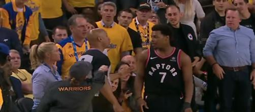 Kyle Lowry talks to the referee following a fan incident in Wednesday night's NBA Finals Game 2. [Image via NBA on ESPN/YouTube]