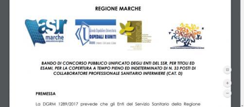 Concorso pubblico 33 infermieri Regione Marche