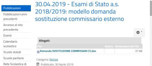 Sostituzione commissario esterno Esami di Stato 2018-2019