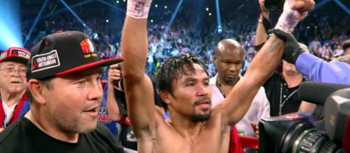 Manny Pacquiao winning over Keith Thurman - (image credit: Fighthub/Youtube)