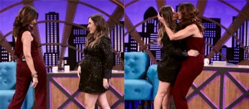 Fátima Bernardes e Tatá Werneck se beijam no 'Lady Night'. (Fonte/Instagram/@tatawerneck)