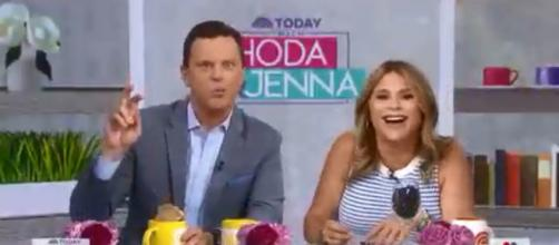 "Jenna Bush Hager and Willie Geist of ""Today"" confess pronunciation problems the day after a mommy-daughter workday. [Image source: TODAY-YouTube]"