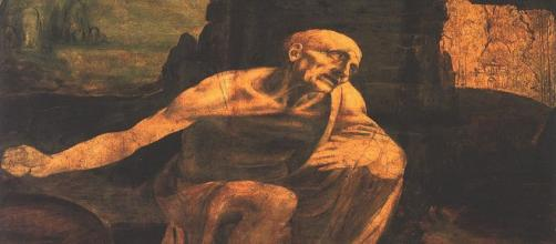 "Leonardo da Vinci's ""Saint Jerome Praying in the Wilderness"" [Image Source: Wikimedia Commons www.aiwaz.net]"