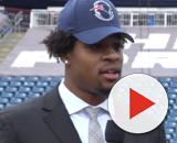 The Patriots selected Harry in the first round of the 2019 NFL Draft. [Image Source: NESN/YouTube]