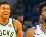 Giannis Antetokounmpo and Joel Embiid could be teammates on the Raptors - image credit: Keith Allison, SmashDown Sports/Flickr